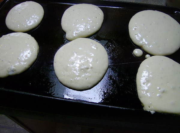 add pancakes to griddle & let bubbles form on top before turning over for Light & fluffy pancakes