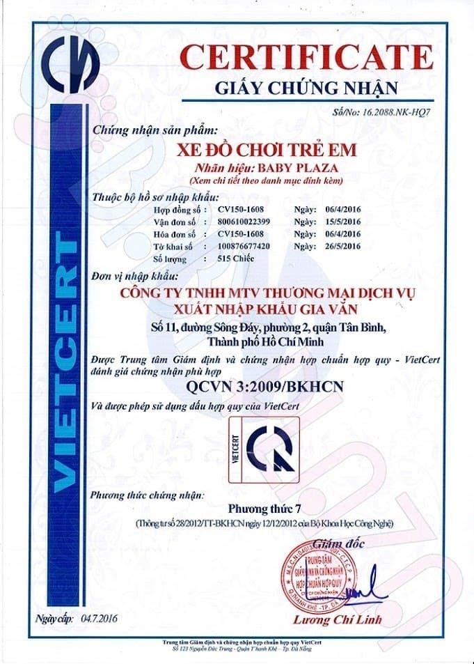 giấy kiểm định chất lượng xe oto điện trẻ em 1