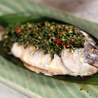 Steamed Bream with Vietnamese Mint and Coriander Salsa Vorde.
