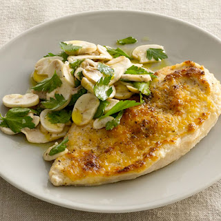 Pecorino-Crusted Chicken with Mushroom Salad