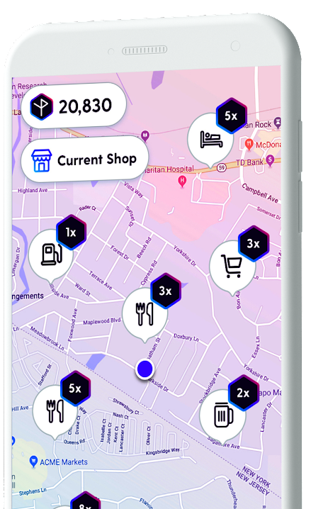 Map showing rewards points available at different locations