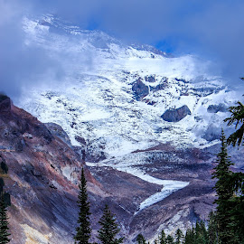 Snowy Valley by Eric Wellman - Landscapes Mountains & Hills ( clouds, mountain, snow, trees, valley )