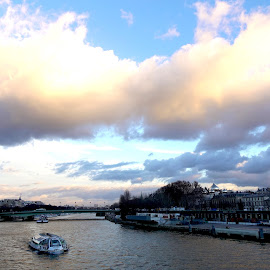 Paris sunset by Philippe Smith-Smith - City,  Street & Park  Skylines ( view, town, la seine, river, boat )