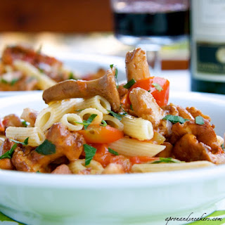 Penne Rigate with Chanterelle Mushrooms, Speck & Tomatoes