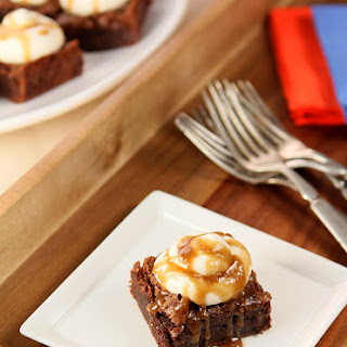 Bourbon Chocolate Brownies with Bourbon Buttercream and Sauce