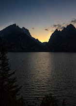 Photo: And then she was gone... Grand Teton National Park, WY. 2012.  I headed out to Jenny Lake that evening, even though there was not a cloud in the sky. I didn't care, I had to see it for myself.  I found a nice little beach just in time, and jostled for some space for my tripod amongst the other photographers and sunset watchers.