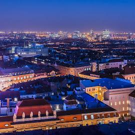 Zagreb from above by Dražen Škrinjarić - City,  Street & Park  Vistas ( josipa, advent, jelačića, colorful, katedrala, twilight, croatia, cityscape, zagreb, night-scape, trg, main, colour, colourful, bana, color, cathedral, night, square, jelačić )