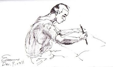 Photo: 習字2011.12.07鋼筆 蹲苦窯什麼沒有,時間是最多的,只看他不停揮毫,在舊報紙上練習著一天的功課