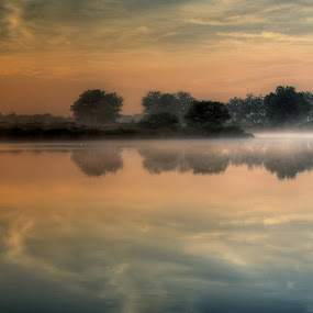 Misty Morning Hop by AJ Schroetlin - Landscapes Sunsets & Sunrises ( water, clouds, sky, fog, color, sunrise, aj schroetlin, sun, mist )