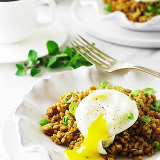 Einkorn Berry Breakfast Pilaf with Poached Egg.