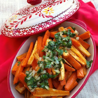 Roasted Carrots & Parsnips with Cilantro Salsa