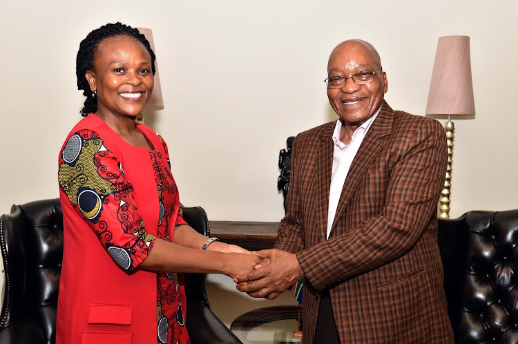 Public Protector Busisiwe Mkhwebane and President Jacob Zuma are all smiles after an official meeting. Picture: GCIS