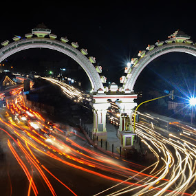 Anna Arch by Nirmal Neelakandan - City,  Street & Park  Street Scenes ( lights, traffic, time lapse, anna arch, light writing, cityscape, vehicles, passing, chennai, city )