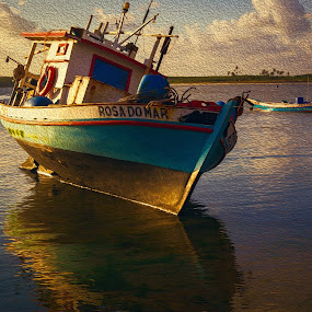 The Boat by Silvana Schevitz - Transportation Boats ( waterscape, sunsets, rivers, fishing boat )