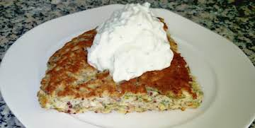 Quinoa and Zucchini Griddle Cake with Tzatziki