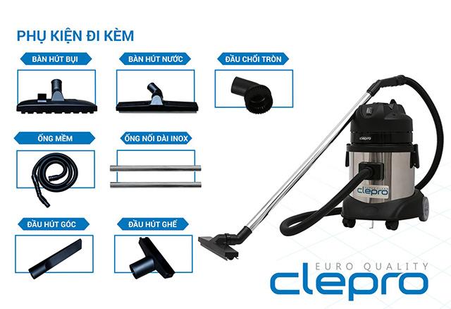 bộ phụ kiện đi kèm với máy hút bụi công nghiệp Clepro
