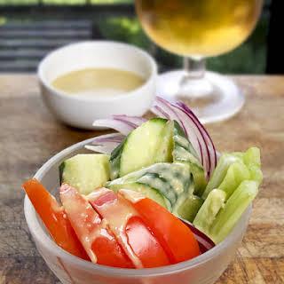 Vegetable Salad with Miso Lemon Dressing.