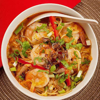 Spicy Shrimp and Ramen Soup.