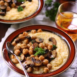 Chickpea & Baby Portobello Mushroom Marsala Over Creamy Polenta.