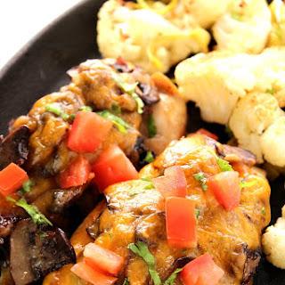Mushroom Cheddar Chicken with Roasted Cauliflower and Leeks