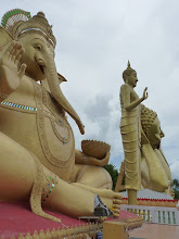 Photo: road Mae Sariang to Chiang Mai - big reclining Buddha garden on hill, on the road from Hot to CM