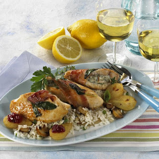 Blue Cheese-stuffed Chicken Breasts with Mushroom Risotto and Baby Pears.