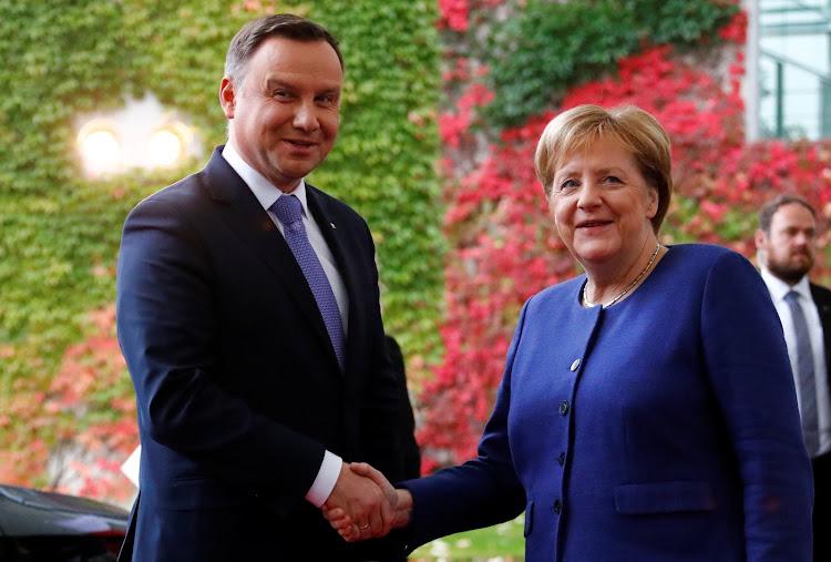 German chancellor Angela Merkel welcomed Polish president Andrzej Duda at the chancellery in Berlin last week.