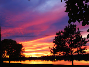 Photo: Silhouette of trees against a fiery sunset reflected on a lake at Eastwood Park in Dayton, Ohio.