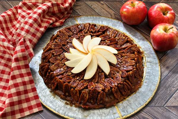 Upside Down Apple Pecan Pie Ready To Be Sliced.
