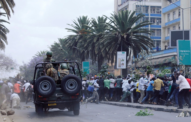 Riot policemen disperse supporters of Kenyan opposition National Super Alliance coalition during a protest in Nairobi, Kenya, October 11, 2017. Picture: REUTERS
