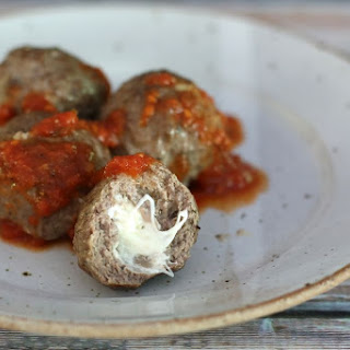 Mozzarella Cheese Stuffed Meatballs.