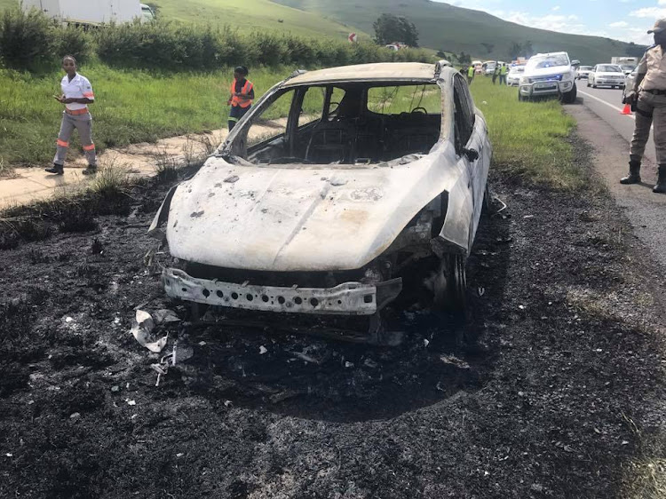 The charred aftermath: This Ford Kuga caught alight on a freeway in KwaZulu-Natal last week.