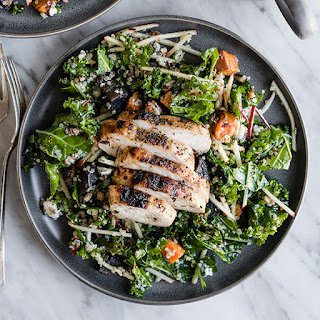 Kale Chicken Salad with Apples and Maple Cider Vinaigrette.