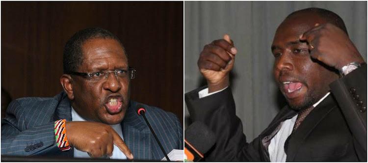 Environment CS Keriako Tobiko (left) and Elgeyo Marakwet Senator Kipchumba Murkomen