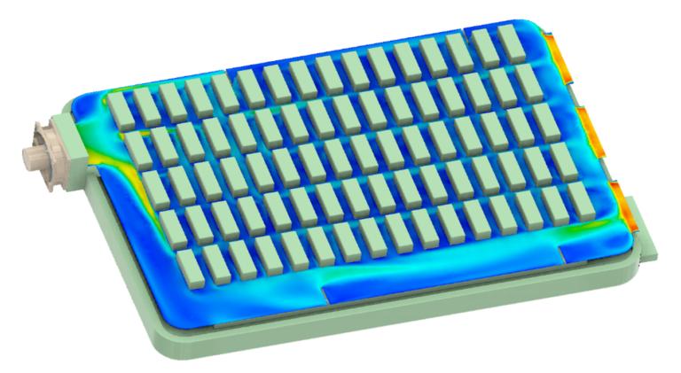 ANSYS Распределение скорости потока в коробке предохранителей, охлаждаемой вентилятором