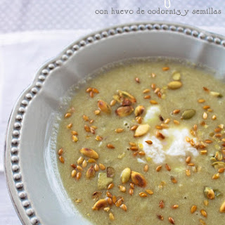 Artichoke Soup with Quail Egg and Toasted Seeds.