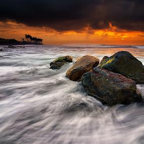 Rocks & Waves by Eggy Sayoga - Landscapes Beaches ( bali, ketewel, manyar, pantai, indonesia, wave, sunrise, beach, nikon, motion )