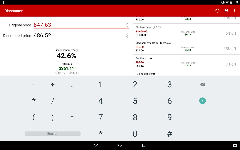 Discountor – sales calculator - screenshot