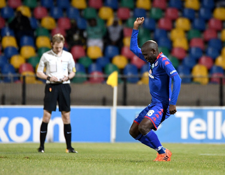 Aubrey Modiba from Supersport United FC. celebrate during the 2017 Telkom Knockout game between Bloemfontein Celtic and Supersport United at Dr Molemela Stadium, Bloemfontein on 28 October 2017.