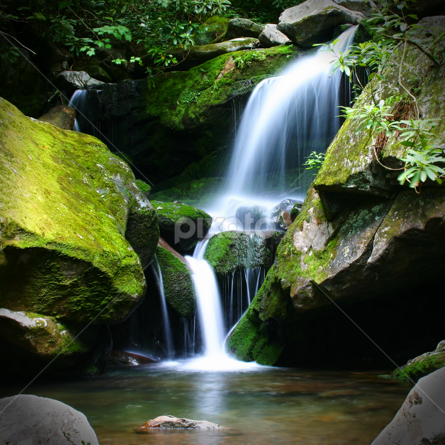 Falls at Roaring Forks by James Banks - Landscapes Waterscapes