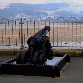 Barmouth's Guardian by DJ Cockburn - Artistic Objects Antiques ( uk, mountain, estuary, wales, . monument, beach, landscape, gun, cannon, history, fence, barmouth, winter, river mawddach, nature, cold, afon mawddach, snow, weapon, snowdonia, historical, abermaw, gwynedd, britain,  )