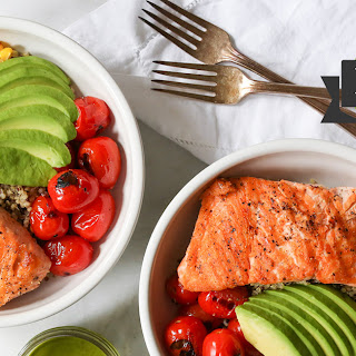 Summer Quinoa Bowls with Grilled Salmon and Basil Vinaigrette.