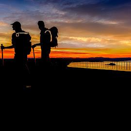 Hicking monument by Luis Silva - City,  Street & Park  Street Scenes ( lazio, sunset, silhouette, italy, bolsena lake )