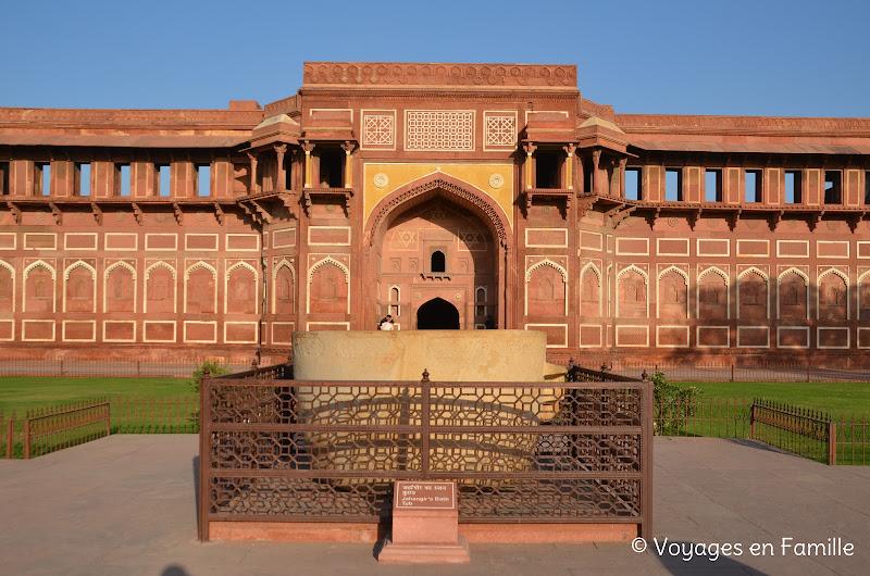 Palais jahangir, fort d'agra