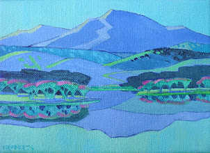 Photo: Little Diablo from Marsh Creek Reservoir, acrylic on canvas by Nancy Roberts, copyright 2014. Private collection.