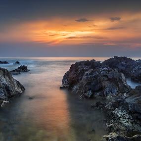 Sunrise at Pantai Timur Malaysia by Fadly Hj Halim - Landscapes Sunsets & Sunrises ( fadly halim, chendering, single exposure, terengganu, malaysia, seascape, sunrise, slow shutter )