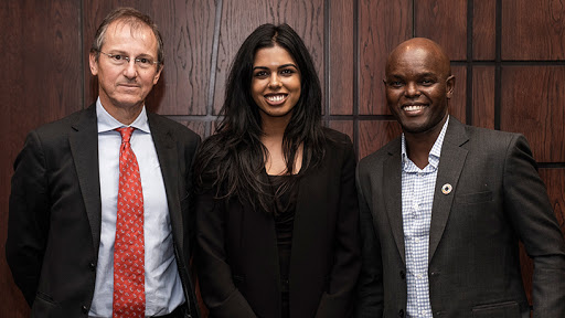 From left: Francesco Petruccione, professor of Theoretical Physics at the School of Chemistry and Physics at the University of KwaZulu-Natal; Amira Abbas, researcher in the Quantum Research Group at the University of KwaZulu-Natal; and Dr Mark Nasila, chief analytics officer at FNB's Chief Risk Office.