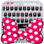 Pink Bow Silver Glitter Keyboard Theme