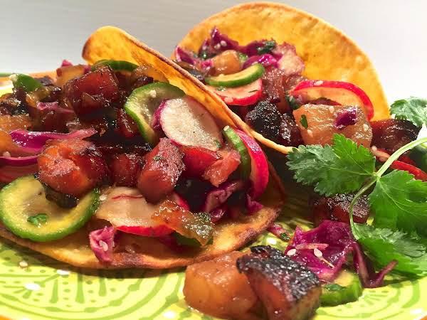 Tropical Glazed Bacon Spam Tacos W/crunchy Pineapp