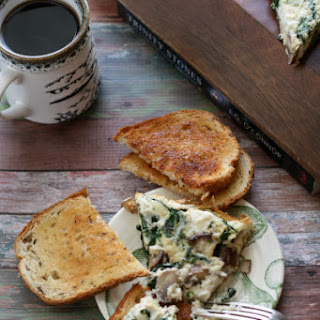 Egg White Frittata with Mushrooms, Spinach, and Goat Cheese.